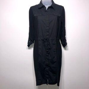 Nine West Black Button Down Career Dress Size 8